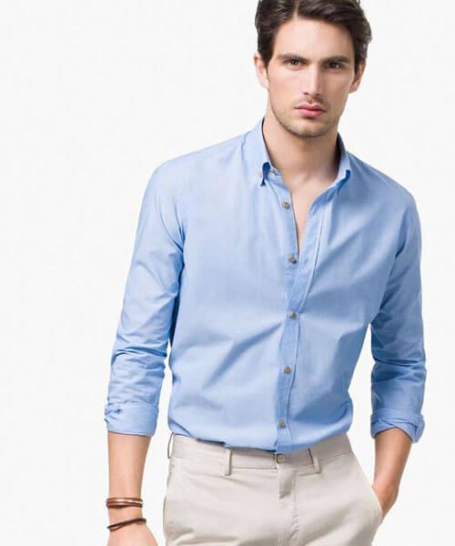 may áo sơ mi nam màu xanh