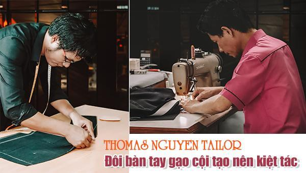 Tailor may vest nam tại tiệm may Thomas Nguyen Tailor