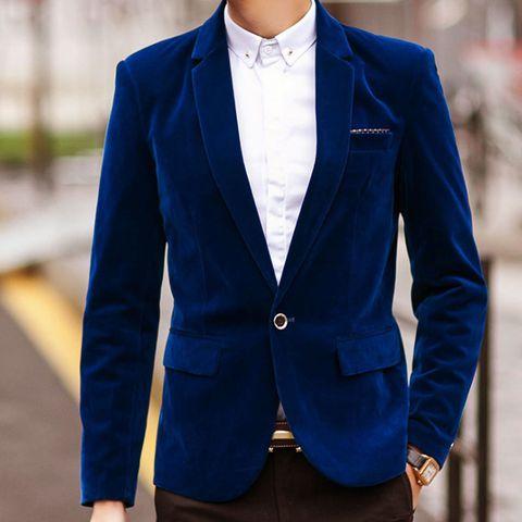 áo vest nhung màu xanh dương