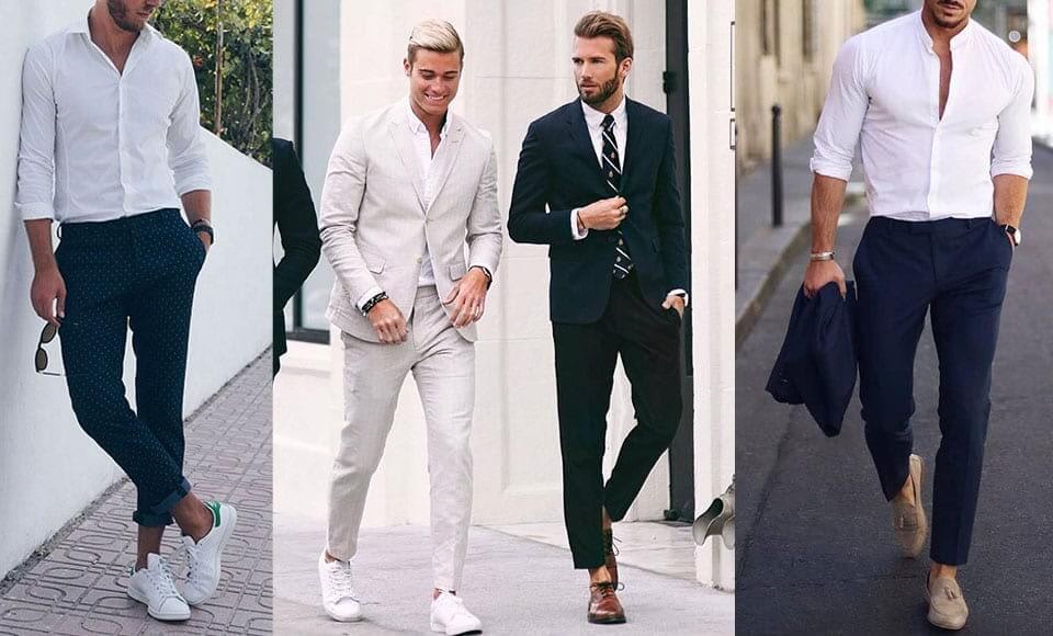 Giày phù hợp với Áo sơ mi màu trắng dành cho nam