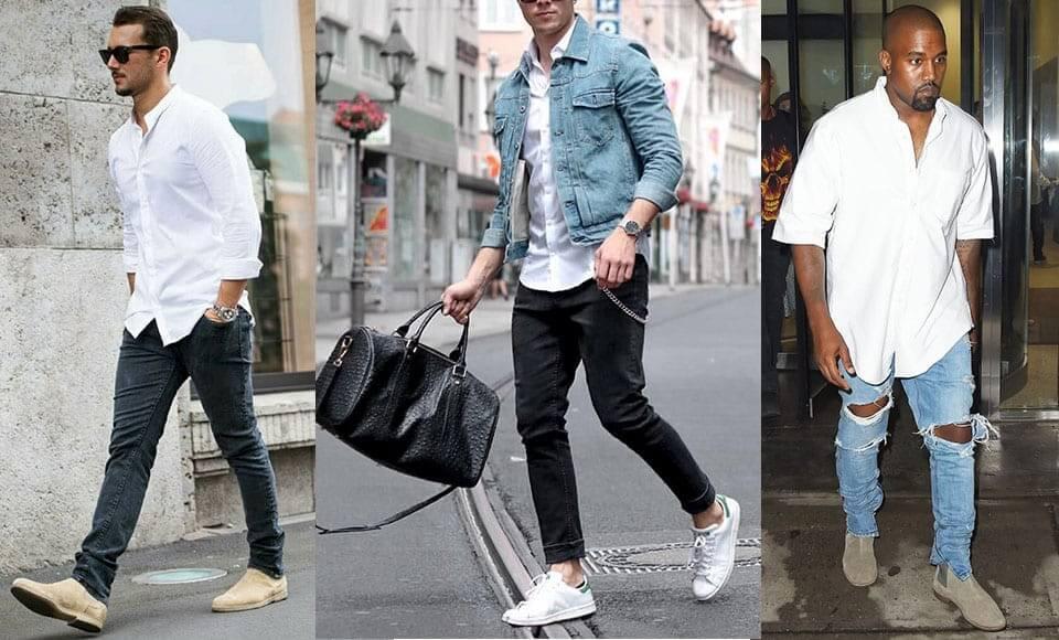 Áo sơ mi màu trắng dành cho nam phối với quần jean