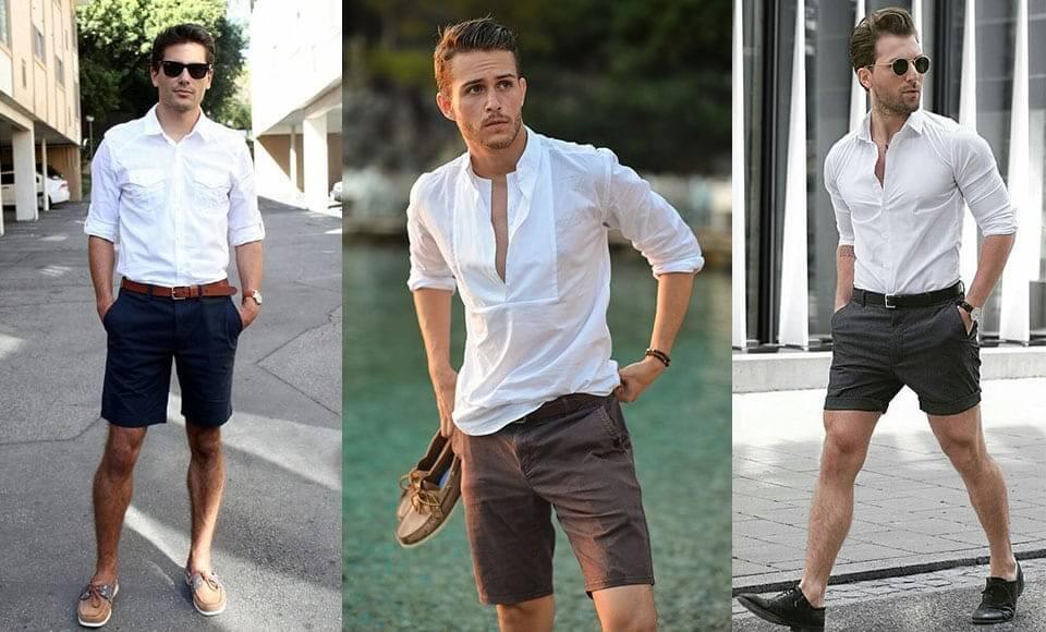 Áo sơ mi màu trắng dành cho nam phối với quần short