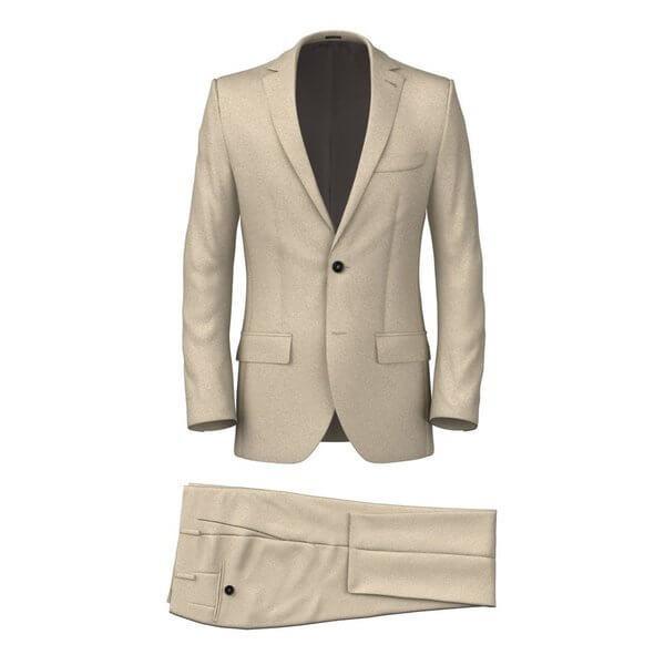 Bộ vest màu be và áo vest nâu