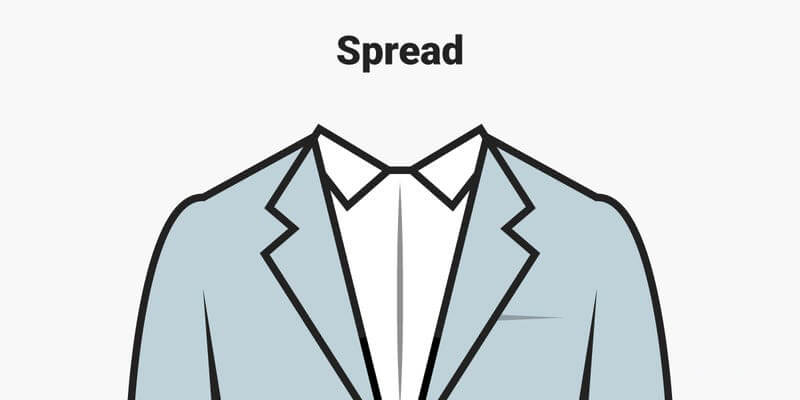 Spread là kiểu cổ áo xòe không cần thắt cà vạt
