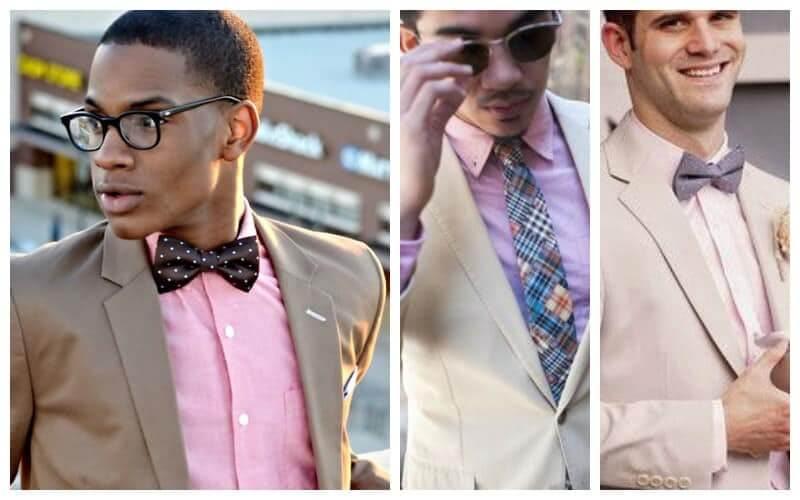 Kết hợp áo sơ mi hồng với suit màu xám/ màu be