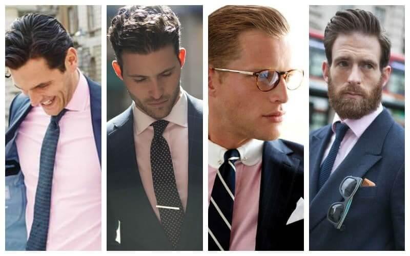 Kết hợp áo sơ mi hồng với suit màu xanh