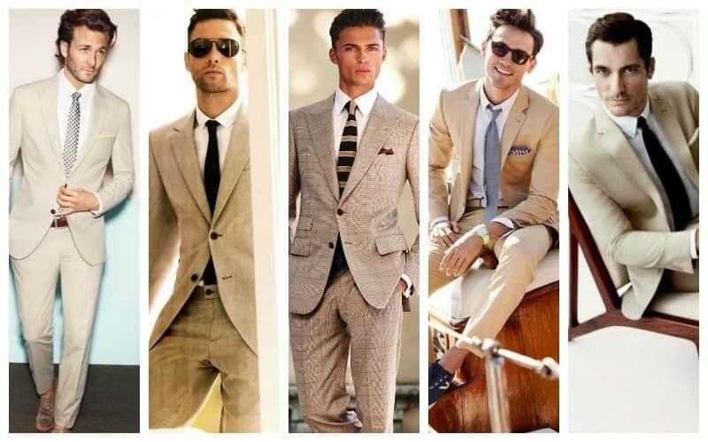 Kết hợp áo sơ mi trắng với suit màu be, màu trắng kem