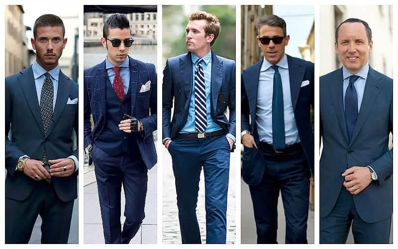 Kết hợp áo sơ mi xanh với suit xanh