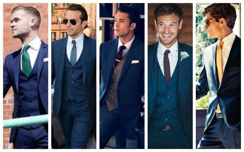 Kết hợp áo sơ mi trắng với suit xanh