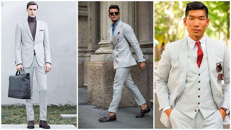 Vest/ Suit pinstripe màu trắng