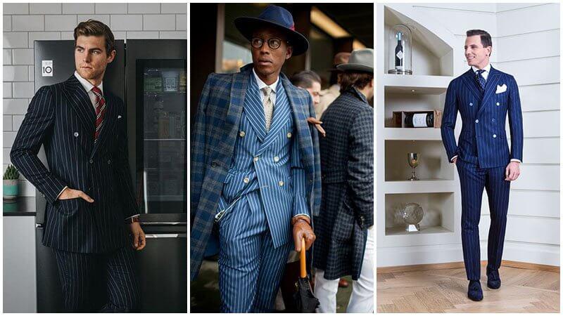 Vest/ Suit pinstripe 2 hàng nút với màu sắc bất kỳ
