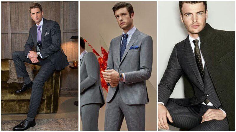 Vest/ Suit pinstripe màu xám và màu than