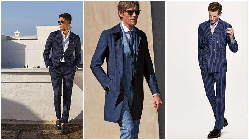 Vest/ Suit pinstripe màu xanh coban