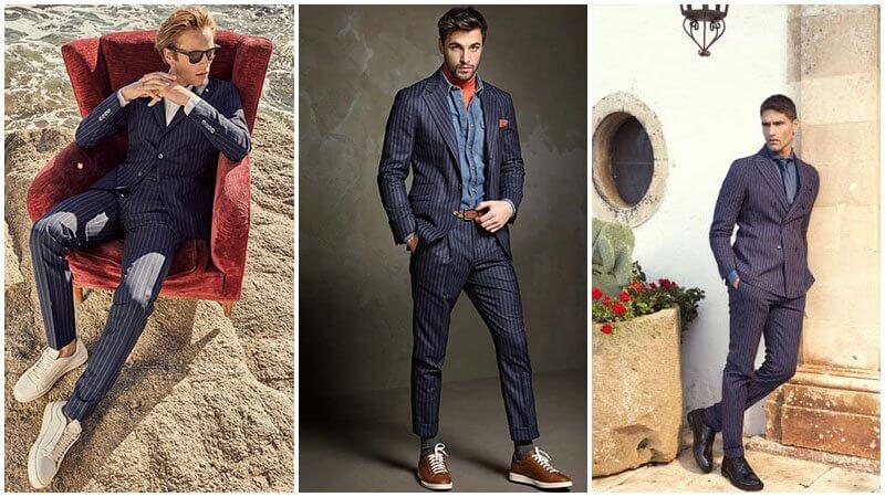 Vest/ Suit pinstripe màu xanh navy