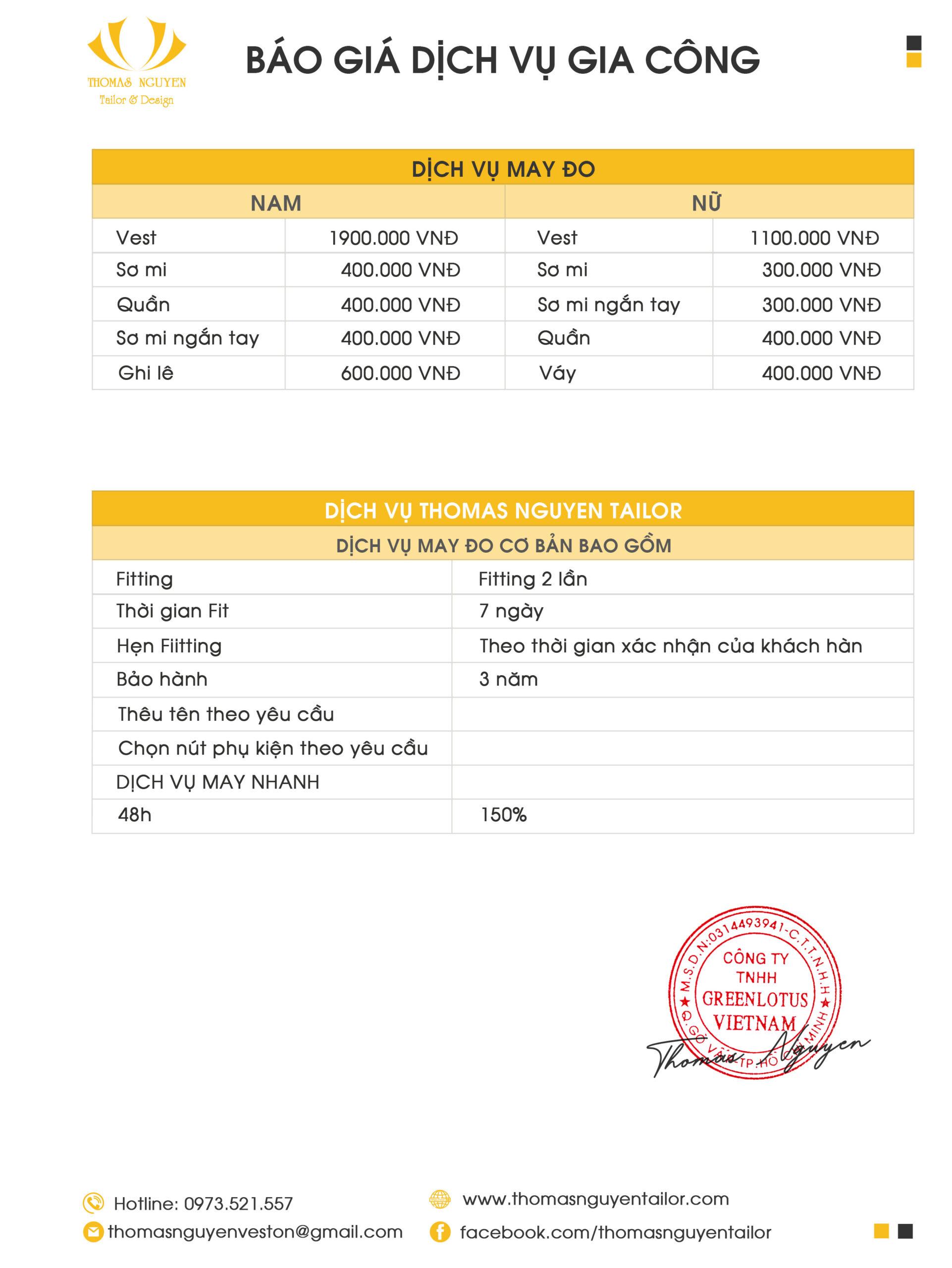 Bảng giá dịch vuh gia công tại Thomas Nguyen Tailor