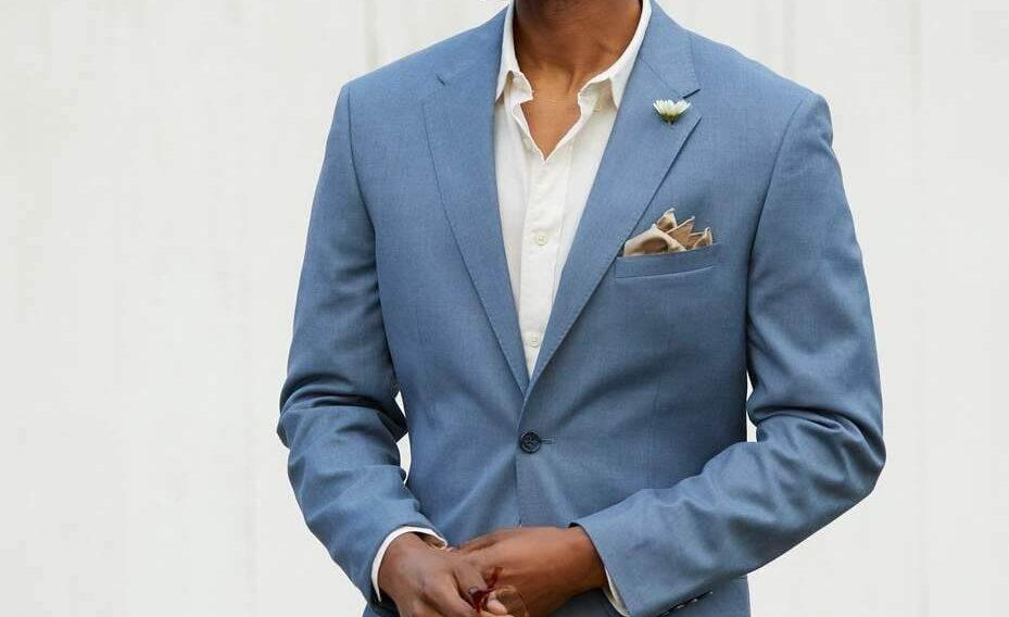 suit cưới không cà vạt