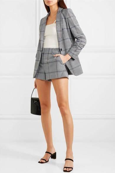 hoạ tiết caro bộ vest nữ quần ngắn