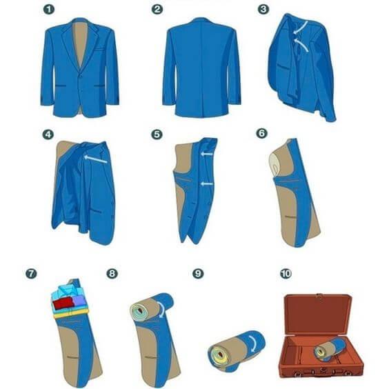 Gấp áo vest cuộn tròn